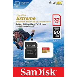 MicroSD 32GB  SanDisk Class 10 Extreme Action Sport Cam 90MB/s SDSQXNE-032G-GN6AA