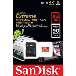 MicroSD 64GB  SanDisk Class 10 Extreme 90MB/s + SD адаптер SDSQXNE-064G-GN6MA