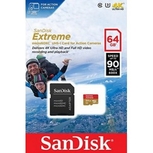 MicroSD 64GB  SanDisk Class 10 Extreme Action Sport Cam 90MB/s SDSQXNE-064G-GN6AA
