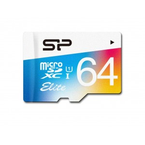 MicroSD 64GB  Silicon Class 10 Elite COLORED R/W 85/15 MB/s + SD адаптер SP064GBSTXBU1V20SP