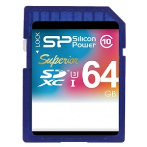 SDXC 64GB  SiLicon Class 10 Superior UHS-I U3 90/45 Mb/s SP064GBSDXCU3V10
