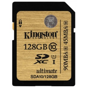 SDXC 128 Gb Kingston Class 10 Ultimate UHS-I R/W 90/45 MB/s SDA10/128GB