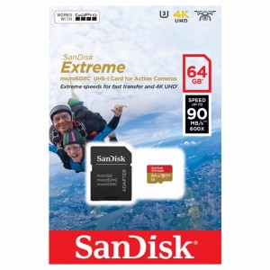 MicroSD 64GB  SanDisk Class 10 Extreme Action Sport Cam 90MB/s SDSQXVF-064G-GN6AA